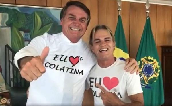Prefeito de Colatina é recebido pelo Presidente, que veste a camisa da cidade